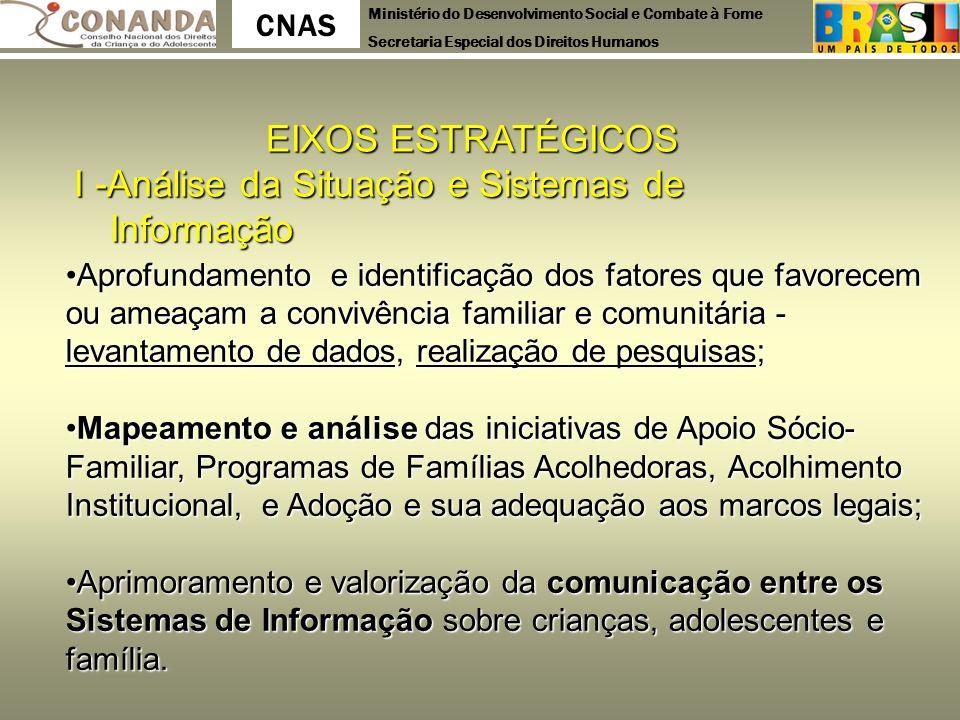 Ministério do Desenvolvimento Social e Combate à Fome Secretaria Especial dos Direitos Humanos CNAS EIXOS ESTRATÉGICOS I -Análise da Situação e Sistem