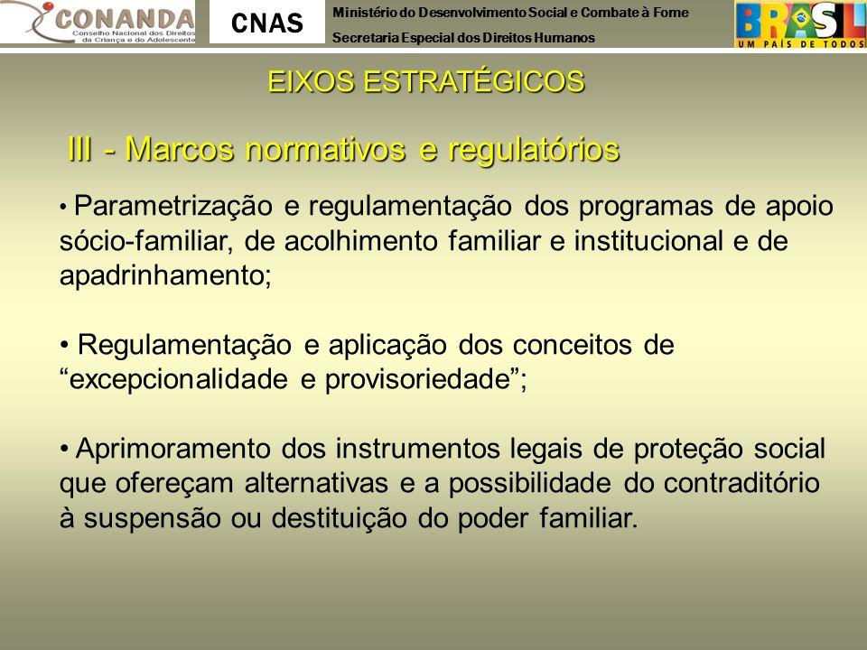 Ministério do Desenvolvimento Social e Combate à Fome Secretaria Especial dos Direitos Humanos CNAS EIXOS ESTRATÉGICOS III - Marcos normativos e regul
