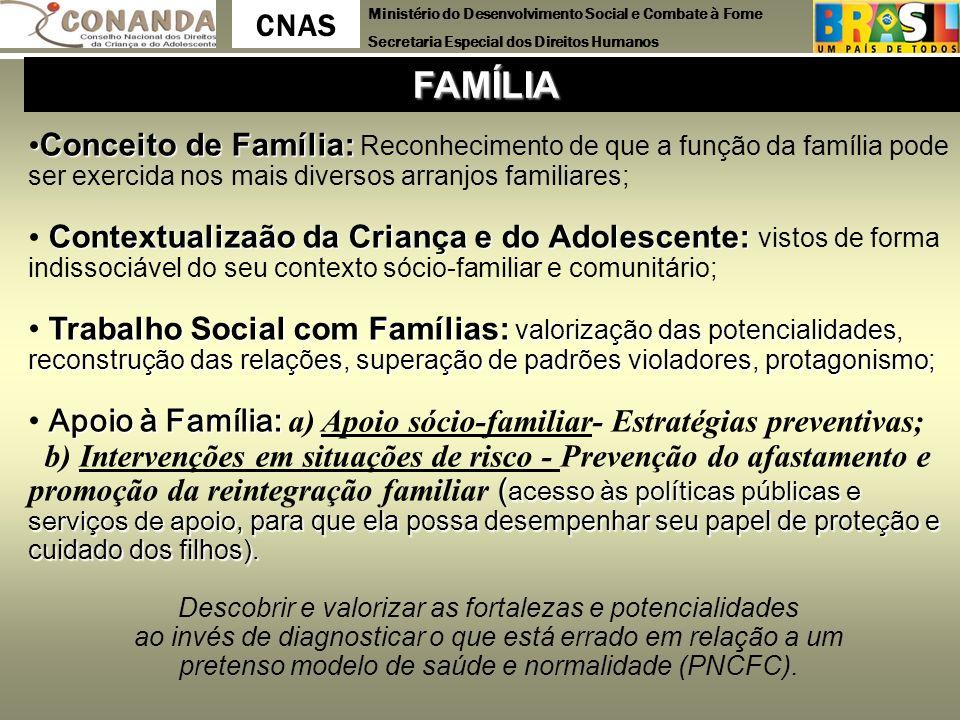 Ministério do Desenvolvimento Social e Combate à Fome Secretaria Especial dos Direitos Humanos CNAS Conceito de Família: Conceito de Família: Reconhec
