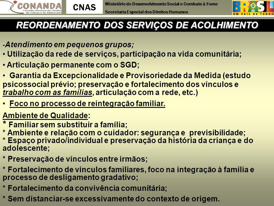 Ministério do Desenvolvimento Social e Combate à Fome Secretaria Especial dos Direitos Humanos CNAS REORDENAMENTO DOS SERVIÇOS DE ACOLHIMENTO - Atendi