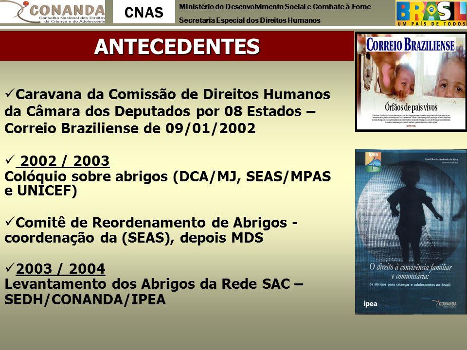 Ministério do Desenvolvimento Social e Combate à Fome Secretaria Especial dos Direitos Humanos CNAS Caravana da Comissão de Direitos Humanos da Câmara