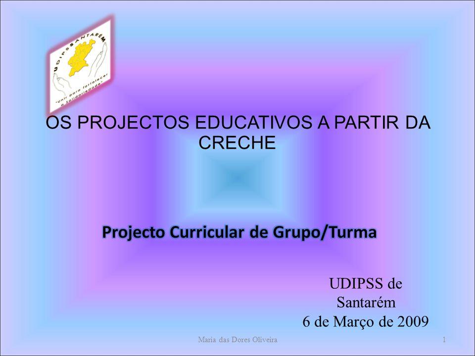 OS PROJECTOS EDUCATIVOS A PARTIR DA CRECHE Maria das Dores Oliveira1 UDIPSS de Santarém 6 de Março de 2009