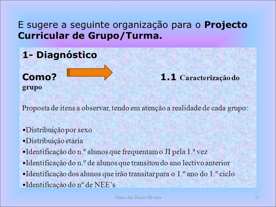 Maria das Dores Oliveira11 E sugere a seguinte organização para o Projecto Curricular de Grupo/Turma.