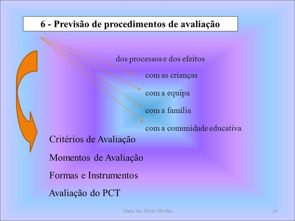 Maria das Dores Oliveira19 6 - Previsão de procedimentos de avaliação dos processos e dos efeitos com as crianças com a equipa com a família com a comunidade educativa Critérios de Avaliação Momentos de Avaliação Formas e Instrumentos Avaliação do PCT