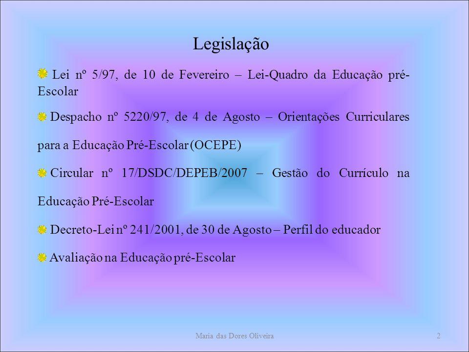 Maria das Dores Oliveira2 Legislação Lei nº 5/97, de 10 de Fevereiro – Lei-Quadro da Educação pré- Escolar Despacho nº 5220/97, de 4 de Agosto – Orientações Curriculares para a Educação Pré-Escolar (OCEPE) Circular nº 17/DSDC/DEPEB/2007 – Gestão do Currículo na Educação Pré-Escolar Decreto-Lei nº 241/2001, de 30 de Agosto – Perfil do educador Avaliação na Educação pré-Escolar