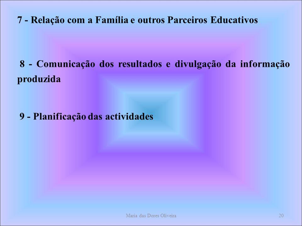 Maria das Dores Oliveira20 7 - Relação com a Família e outros Parceiros Educativos 8 - Comunicação dos resultados e divulgação da informação produzida 9 - Planificação das actividades