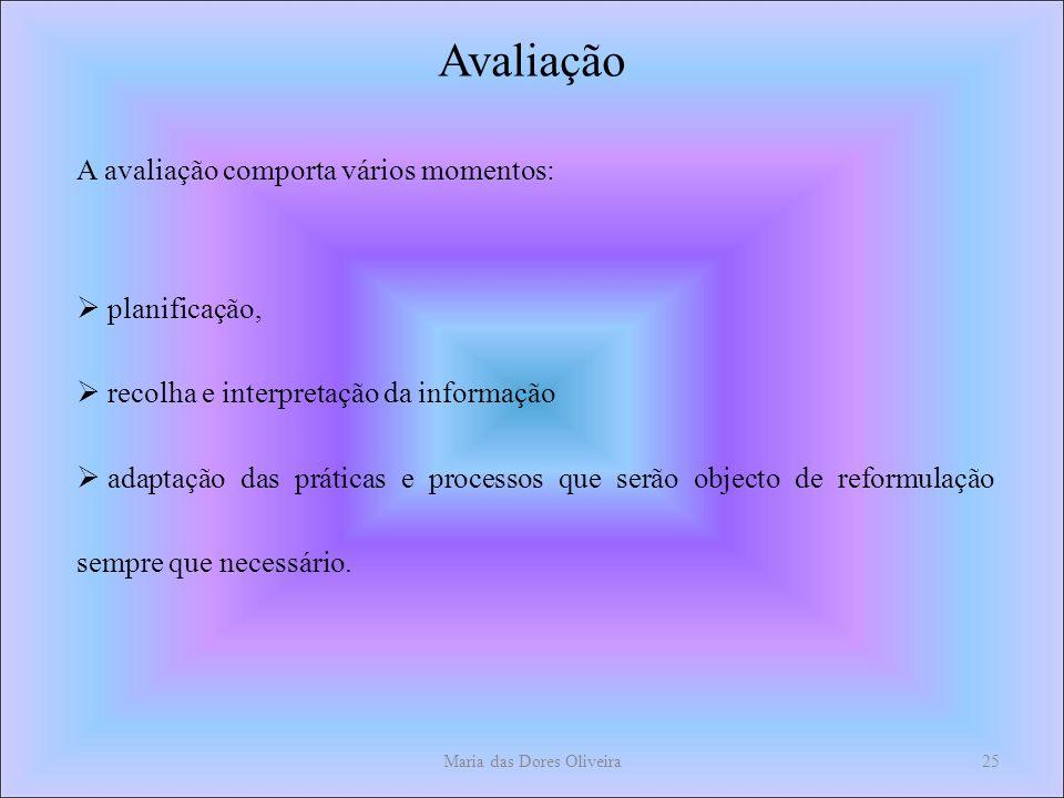 Maria das Dores Oliveira25 Avaliação A avaliação comporta vários momentos: planificação, recolha e interpretação da informação adaptação das práticas e processos que serão objecto de reformulação sempre que necessário.