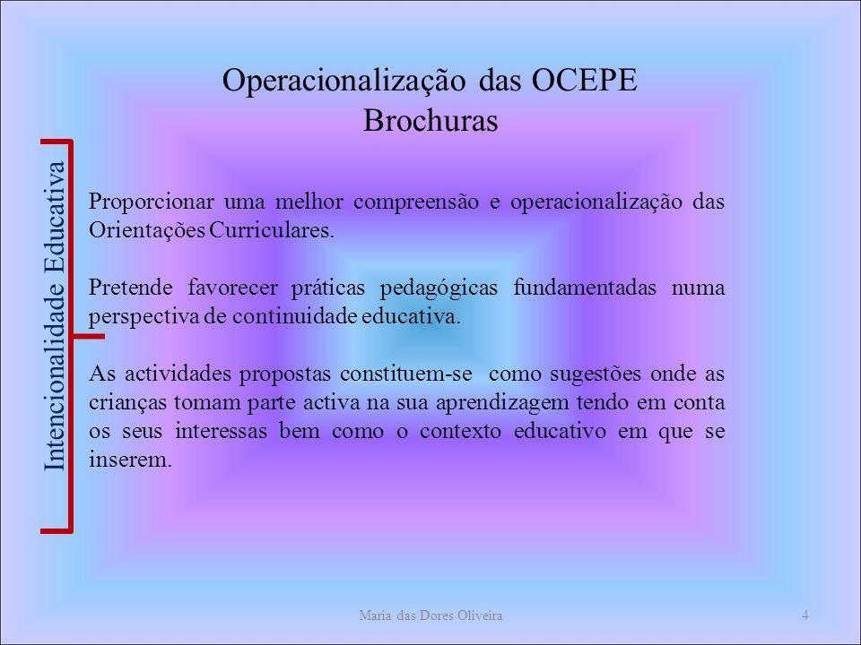 Maria das Dores Oliveira4 Operacionalização das OCEPE Brochuras Proporcionar uma melhor compreensão e operacionalização das Orientações Curriculares.