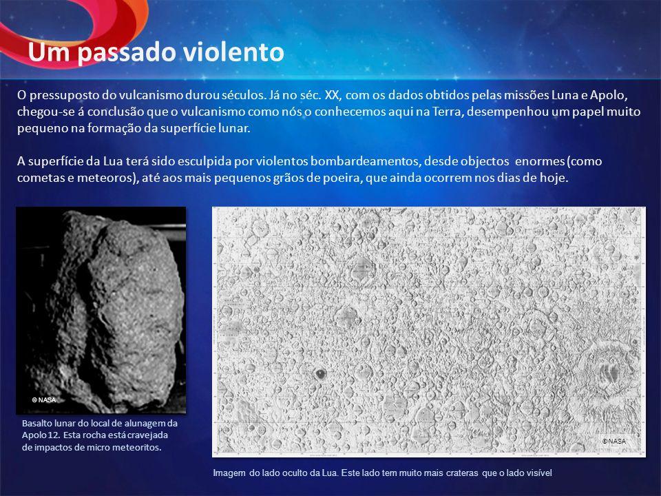 O pressuposto do vulcanismo durou séculos. Já no séc. XX, com os dados obtidos pelas missões Luna e Apolo, chegou-se á conclusão que o vulcanismo como