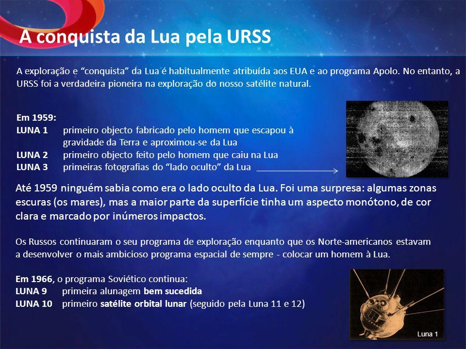 Em 1959: LUNA 1primeiro objecto fabricado pelo homem que escapou à gravidade da Terra e aproximou-se da Lua LUNA 2primeiro objecto feito pelo homem qu