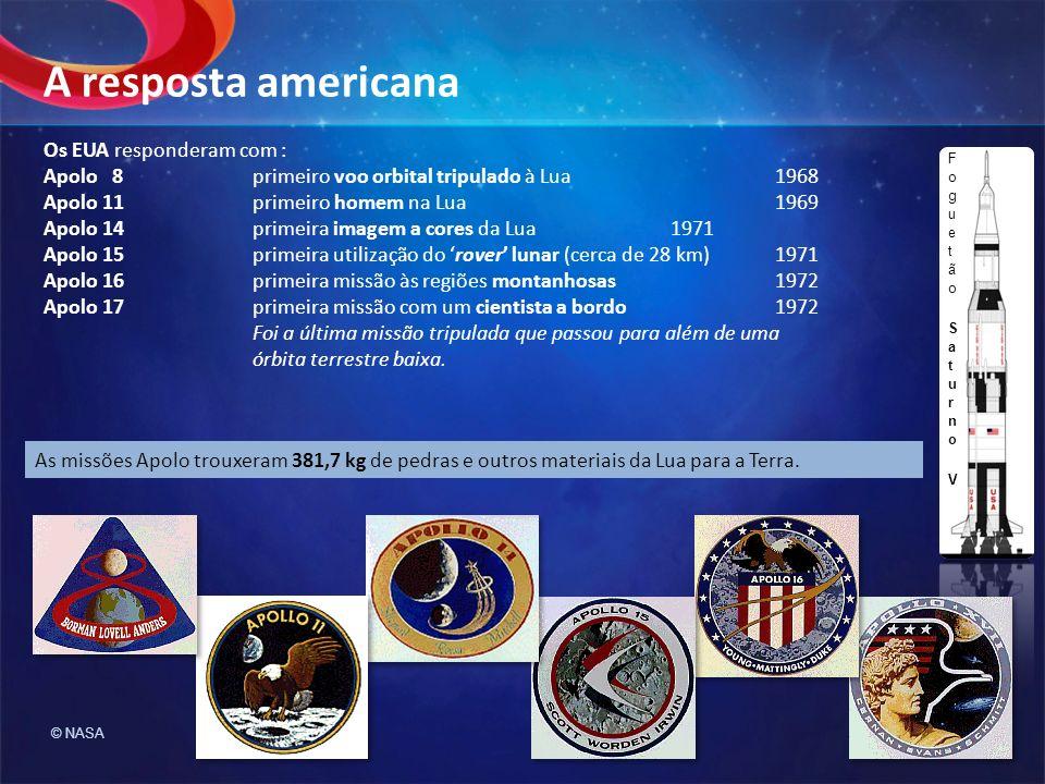 Os EUA responderam com : Apolo 8primeiro voo orbital tripulado à Lua1968 Apolo 11primeiro homem na Lua1969 Apolo 14primeira imagem a cores da Lua1971