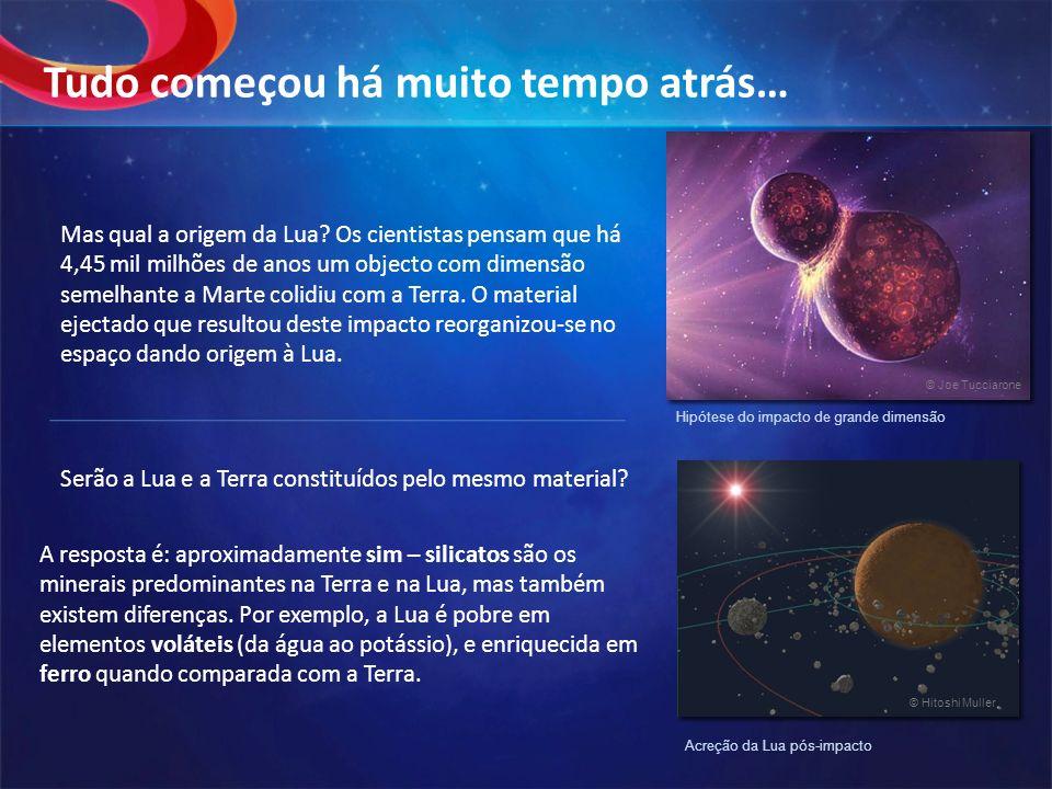 Mas qual a origem da Lua? Os cientistas pensam que há 4,45 mil milhões de anos um objecto com dimensão semelhante a Marte colidiu com a Terra. O mater