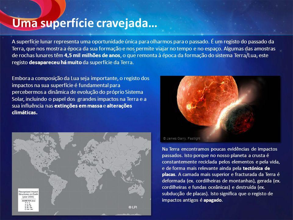 A superfície lunar representa uma oportunidade única para olharmos para o passado. É um registo do passado da Terra, que nos mostra a época da sua for