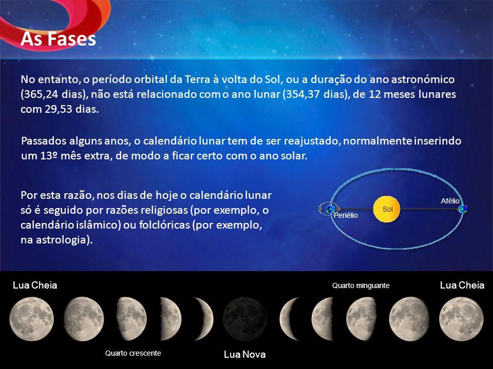 No entanto, o período orbital da Terra à volta do Sol, ou a duração do ano astronómico (365,24 dias), não está relacionado com o ano lunar (354,37 dia