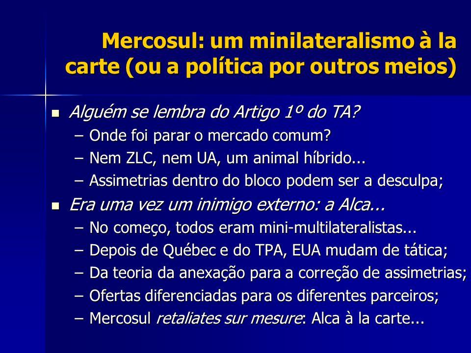 Mercosul: um minilateralismo à la carte (ou a política por outros meios) Alguém se lembra do Artigo 1º do TA? Alguém se lembra do Artigo 1º do TA? –On