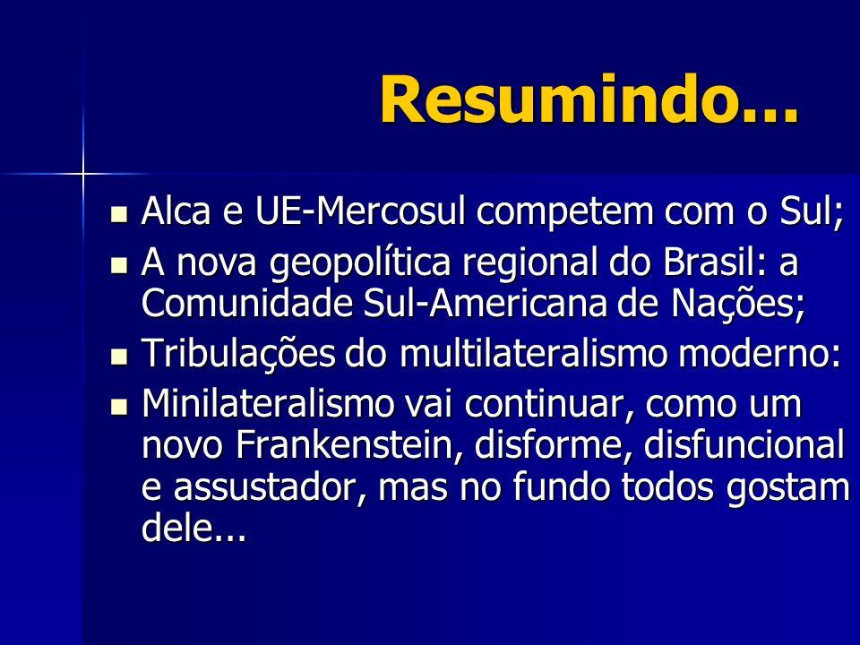 Resumindo... Alca e UE-Mercosul competem com o Sul; Alca e UE-Mercosul competem com o Sul; A nova geopolítica regional do Brasil: a Comunidade Sul-Ame