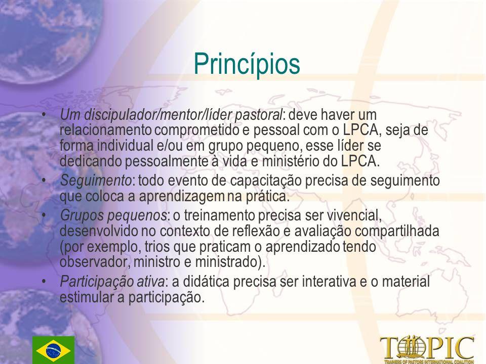 Princípios Um discipulador/mentor/líder pastoral : deve haver um relacionamento comprometido e pessoal com o LPCA, seja de forma individual e/ou em grupo pequeno, esse líder se dedicando pessoalmente à vida e ministério do LPCA.