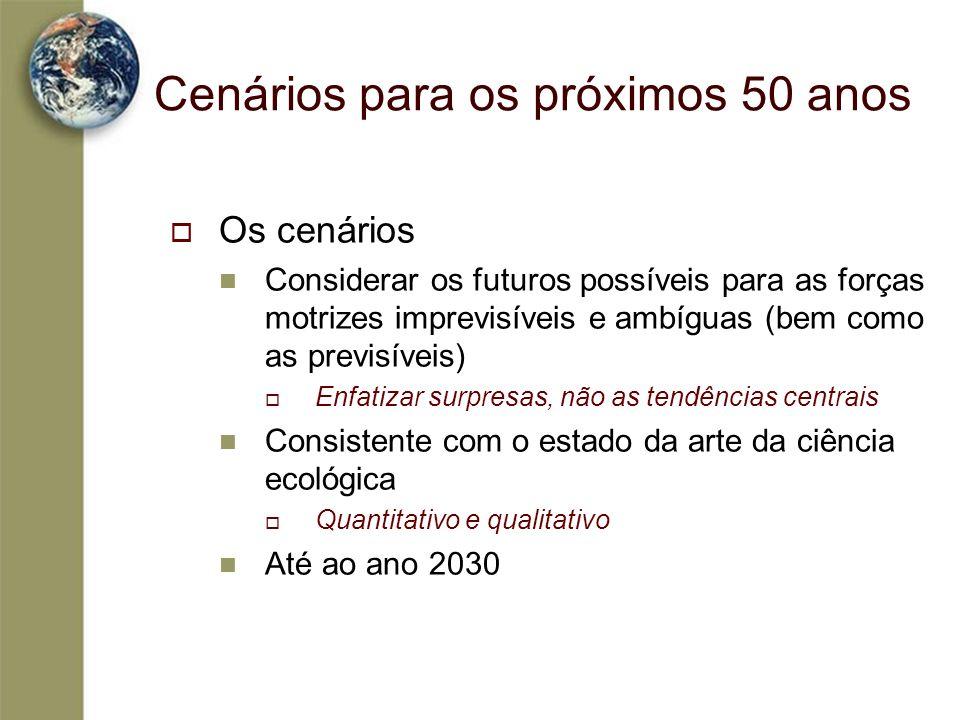 Cenários para os próximos 50 anos Os cenários Considerar os futuros possíveis para as forças motrizes imprevisíveis e ambíguas (bem como as previsívei