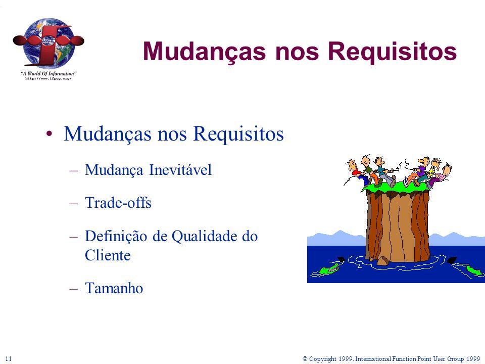 © Copyright 1999. International Function Point User Group 199911 Mudanças nos Requisitos –Mudança Inevitável –Trade-offs –Definição de Qualidade do Cl