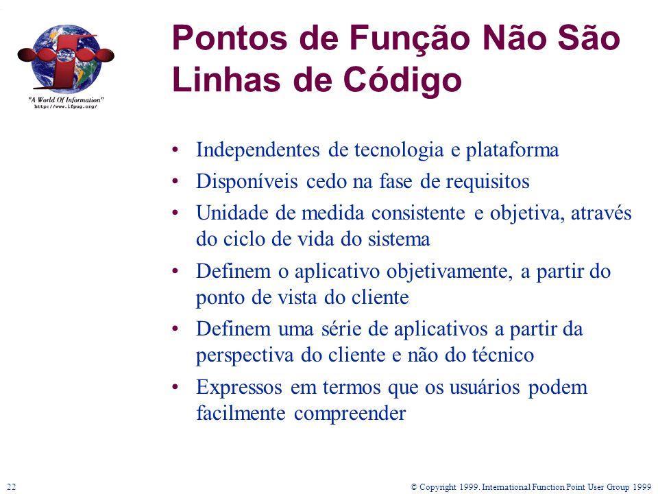 © Copyright 1999. International Function Point User Group 199922 Pontos de Função Não São Linhas de Código Independentes de tecnologia e plataforma Di