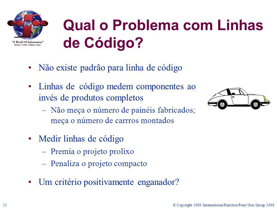 © Copyright 1999. International Function Point User Group 199923 Não existe padrão para linha de código Linhas de código medem componentes ao invés de
