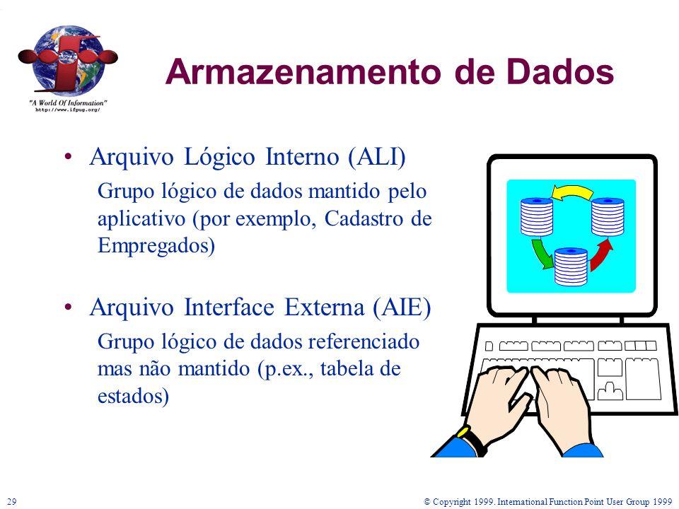 © Copyright 1999. International Function Point User Group 199929 Armazenamento de Dados Arquivo Lógico Interno (ALI) Grupo lógico de dados mantido pel