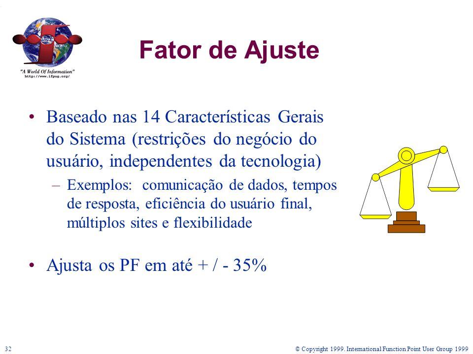 © Copyright 1999. International Function Point User Group 199932 Fator de Ajuste Baseado nas 14 Características Gerais do Sistema (restrições do negóc