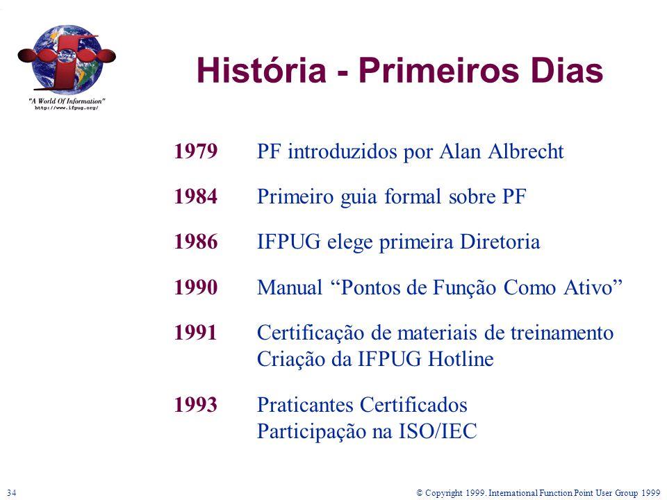 © Copyright 1999. International Function Point User Group 199934 História - Primeiros Dias 1979PF introduzidos por Alan Albrecht 1984Primeiro guia for