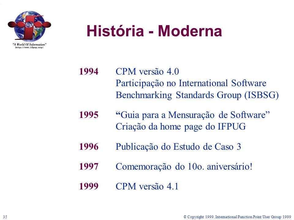© Copyright 1999. International Function Point User Group 199935 História - Moderna 1994CPM versão 4.0 Participação no International Software Benchmar