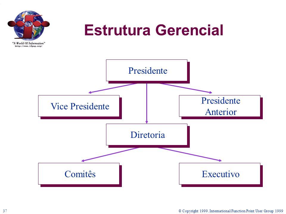 © Copyright 1999. International Function Point User Group 199937 Estrutura Gerencial Diretoria Presidente Anterior Vice Presidente ComitêsExecutivo