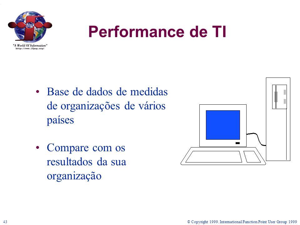 © Copyright 1999. International Function Point User Group 199943 Performance de TI Base de dados de medidas de organizações de vários países Compare c
