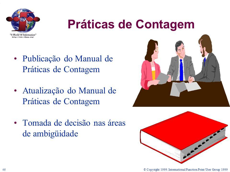 © Copyright 1999. International Function Point User Group 199946 Práticas de Contagem Publicação do Manual de Práticas de Contagem Atualização do Manu