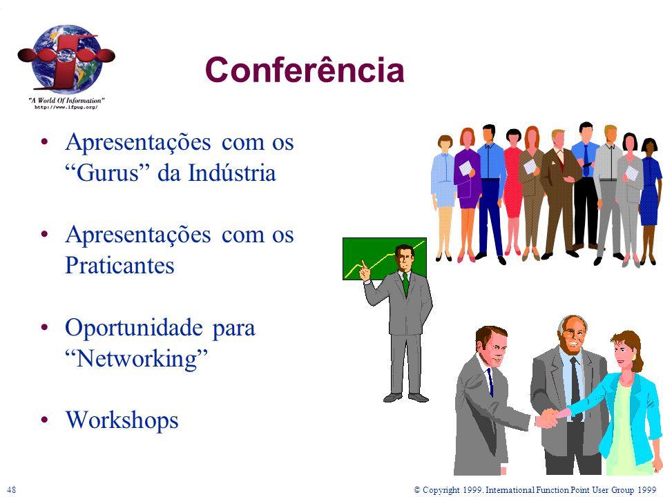 © Copyright 1999. International Function Point User Group 199948 Conferência Apresentações com os Gurus da Indústria Apresentações com os Praticantes