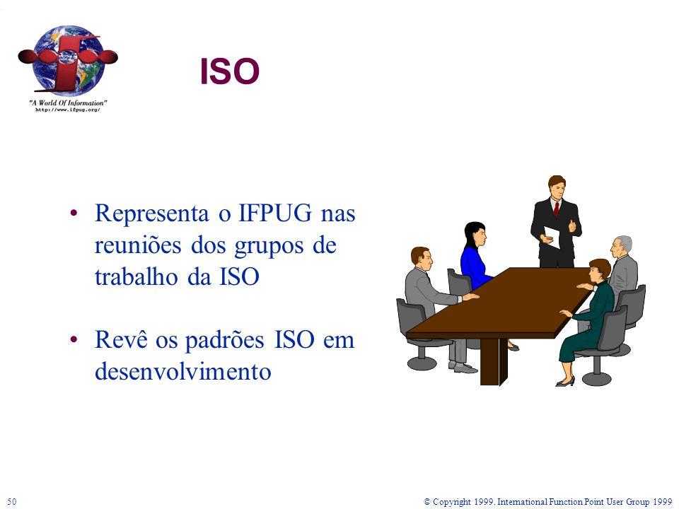 © Copyright 1999. International Function Point User Group 199950 ISO Representa o IFPUG nas reuniões dos grupos de trabalho da ISO Revê os padrões ISO
