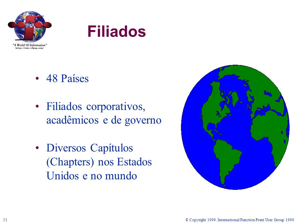 © Copyright 1999. International Function Point User Group 199951 Filiados 48 Países Filiados corporativos, acadêmicos e de governo Diversos Capítulos