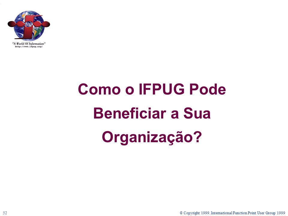 © Copyright 1999. International Function Point User Group 199952 Como o IFPUG Pode Beneficiar a Sua Organização?