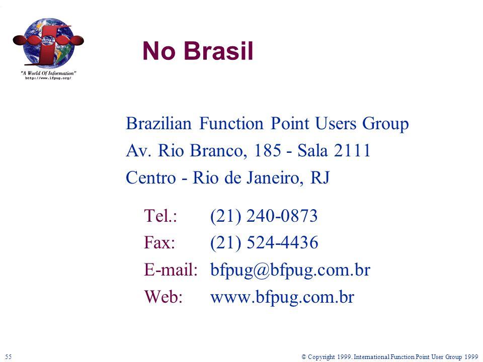 © Copyright 1999. International Function Point User Group 199955 No Brasil Brazilian Function Point Users Group Av. Rio Branco, 185 - Sala 2111 Centro