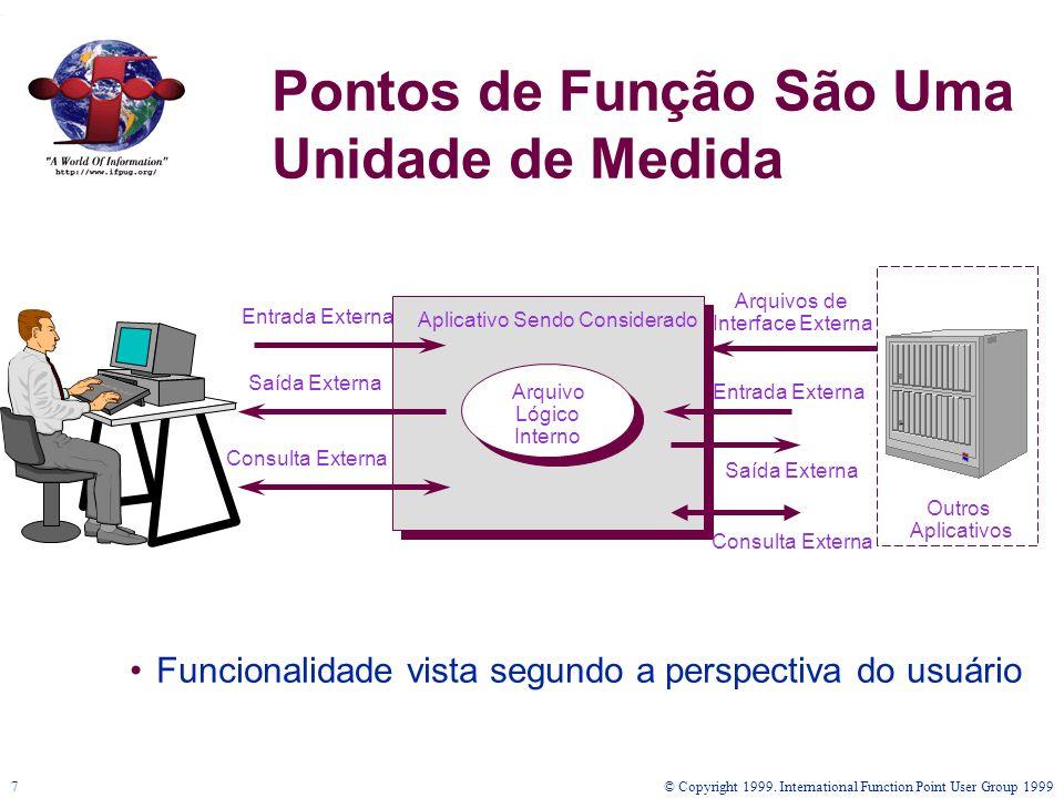 © Copyright 1999. International Function Point User Group 19997 Pontos de Função São Uma Unidade de Medida Funcionalidade vista segundo a perspectiva