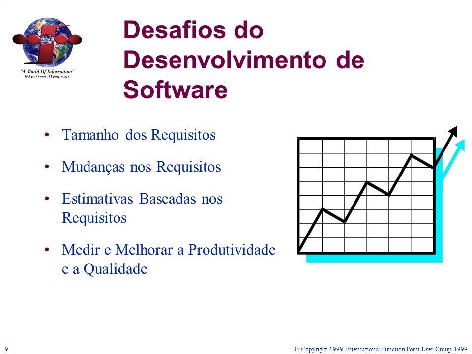 © Copyright 1999. International Function Point User Group 19999 Desafios do Desenvolvimento de Software Tamanho dos Requisitos Mudanças nos Requisitos