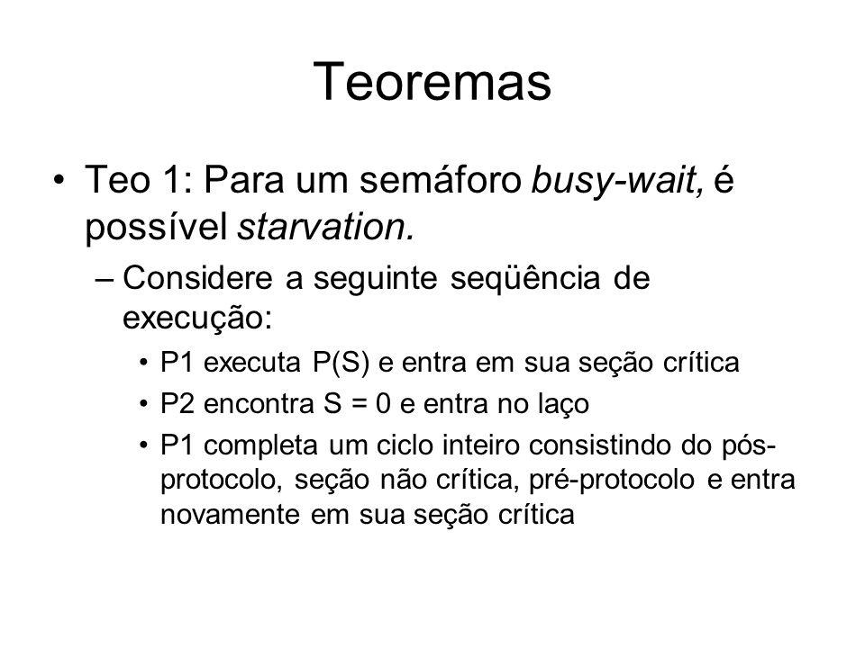 Teoremas Teo 1: Para um semáforo busy-wait, é possível starvation. –Considere a seguinte seqüência de execução: P1 executa P(S) e entra em sua seção c