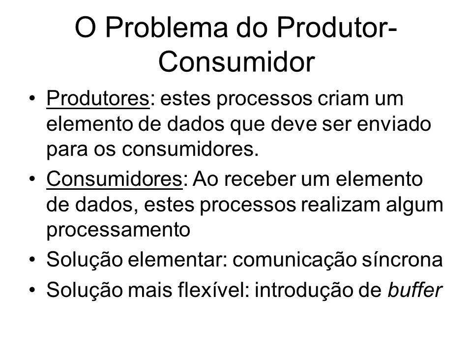 O Problema do Produtor- Consumidor Produtores: estes processos criam um elemento de dados que deve ser enviado para os consumidores. Consumidores: Ao