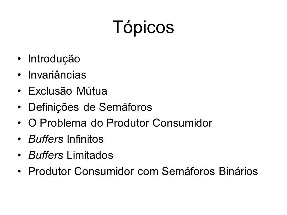 Tópicos Introdução Invariâncias Exclusão Mútua Definições de Semáforos O Problema do Produtor Consumidor Buffers Infinitos Buffers Limitados Produtor