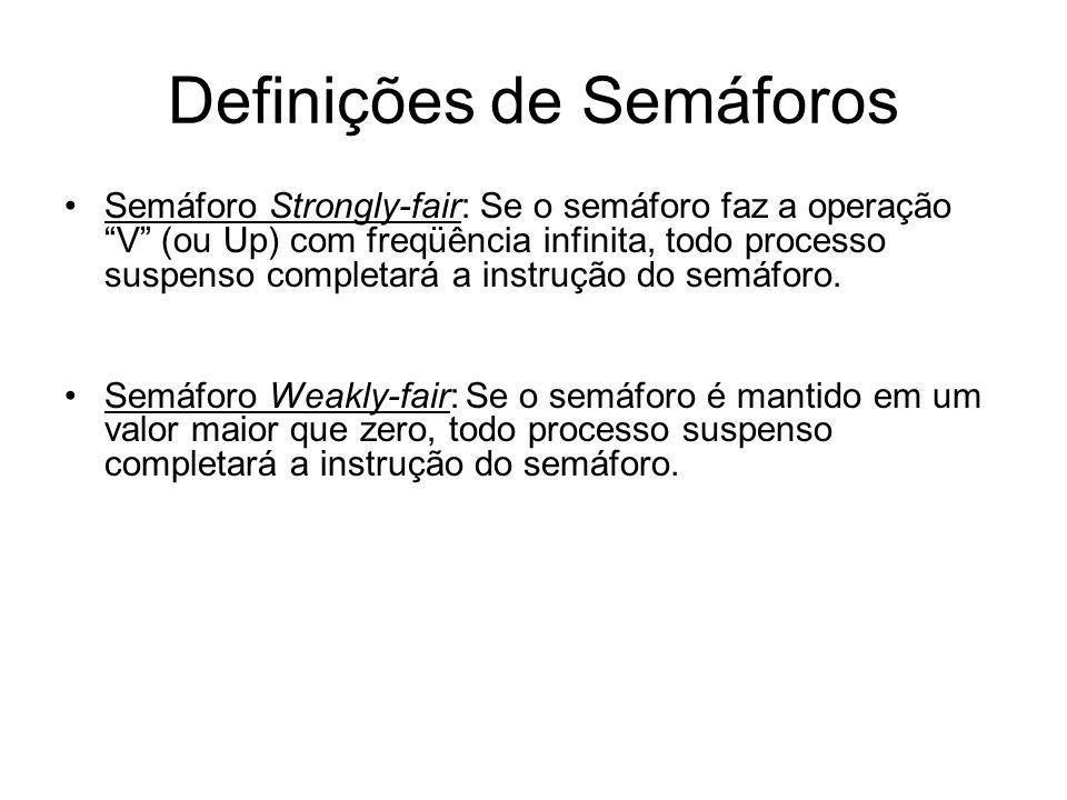 Definições de Semáforos Semáforo Strongly-fair: Se o semáforo faz a operação V (ou Up) com freqüência infinita, todo processo suspenso completará a in