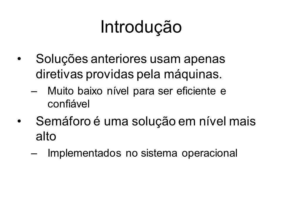 Introdução Semáforo é uma variável inteira não negativa.