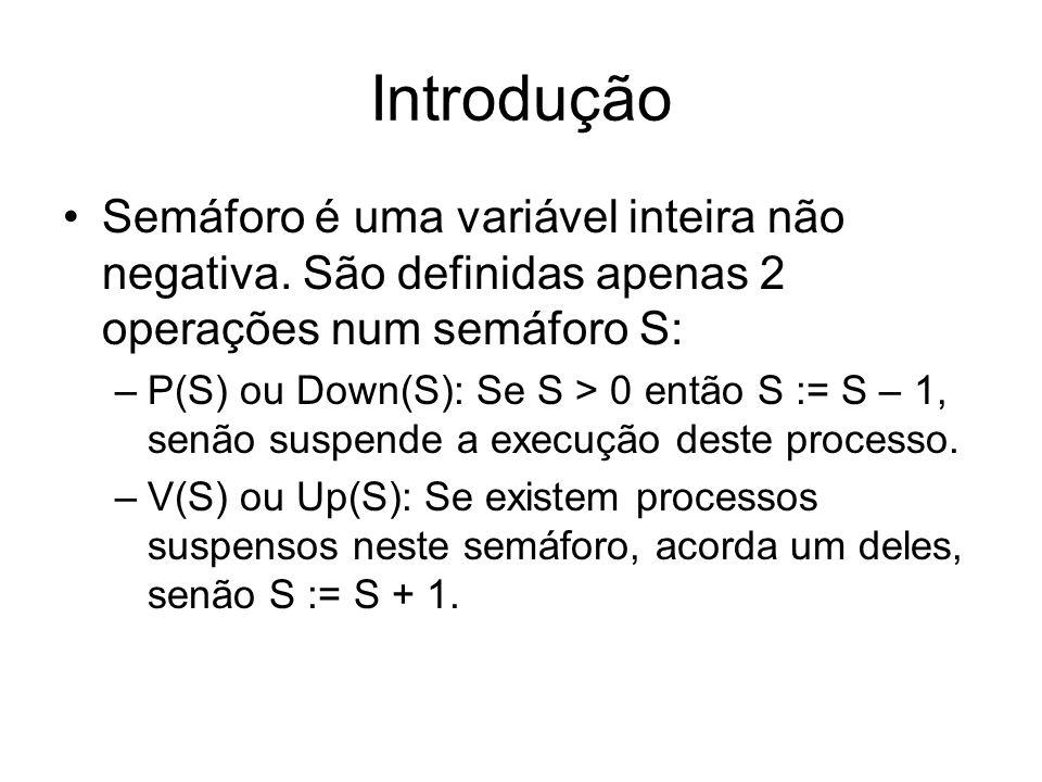 Introdução Semáforo é uma variável inteira não negativa. São definidas apenas 2 operações num semáforo S: –P(S) ou Down(S): Se S > 0 então S := S – 1,