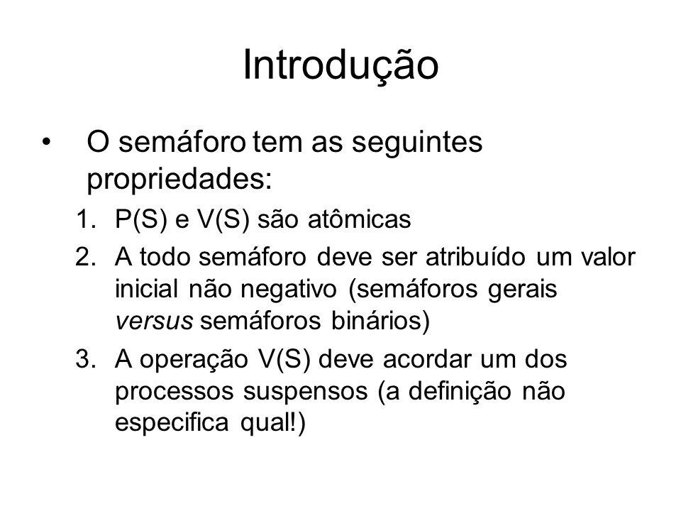 Introdução O semáforo tem as seguintes propriedades: 1.P(S) e V(S) são atômicas 2.A todo semáforo deve ser atribuído um valor inicial não negativo (se