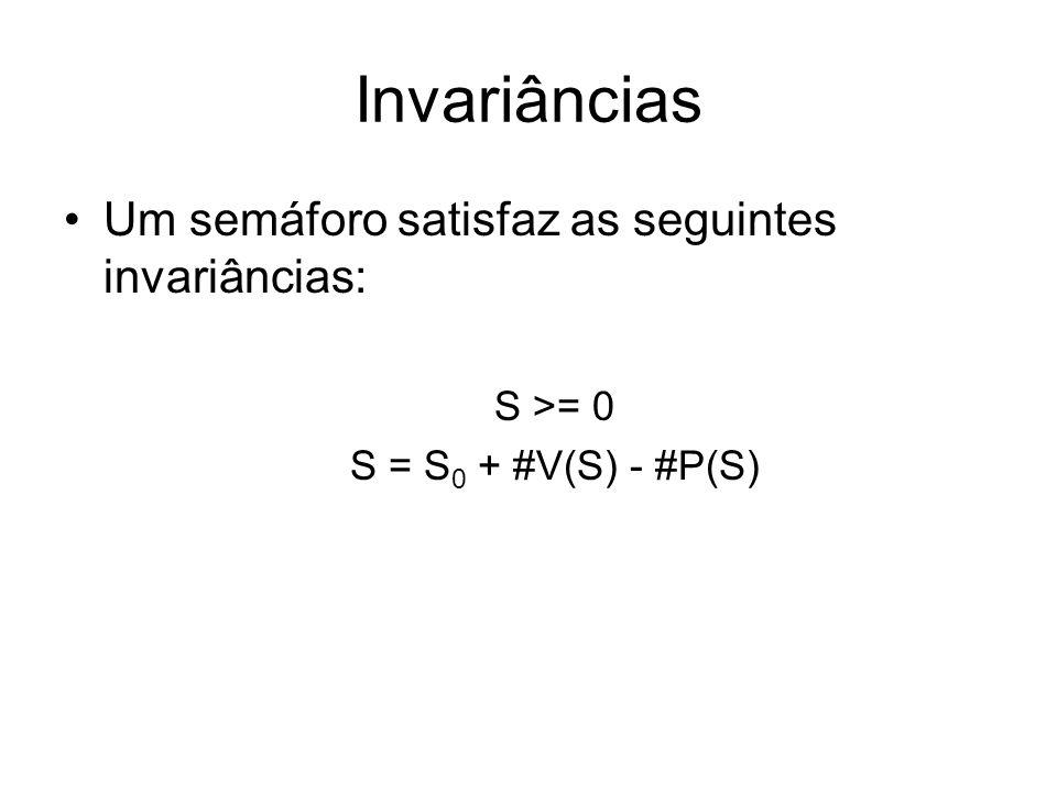 Invariâncias Um semáforo satisfaz as seguintes invariâncias: S >= 0 S = S 0 + #V(S) - #P(S)