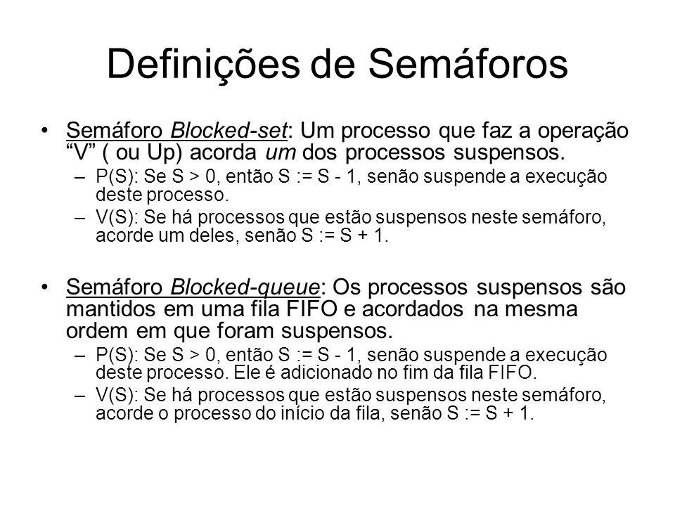 Definições de Semáforos Semáforo Blocked-set: Um processo que faz a operação V ( ou Up) acorda um dos processos suspensos. –P(S): Se S > 0, então S :=