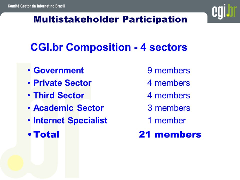 Multistakeholder Participation CGI.br Composition - 4 sectors Government 9 members Private Sector 4 members Third Sector 4 members Academic Sector 3 members Internet Specialist1 member Total 21 members