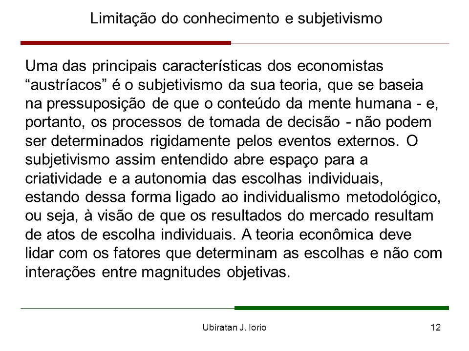 Ubiratan J. Iorio11 Limitação do conhecimento e subjetivismo Premissas fundamentais sobre o conhecimento: - limitação - dispersão